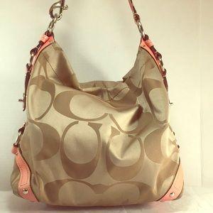 COACH XL Carly in Tan & Petal Pink # 13306
